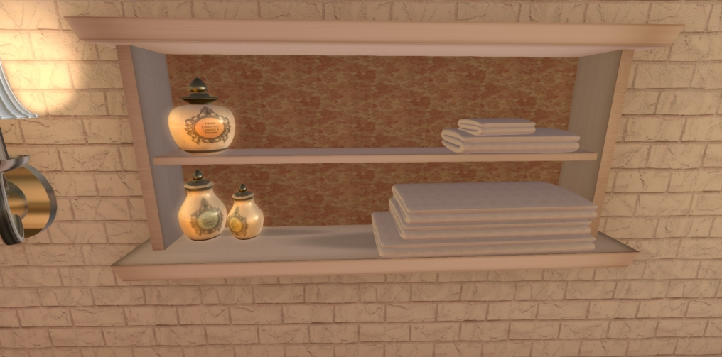 Cottage Bathroom Shelves and Potions