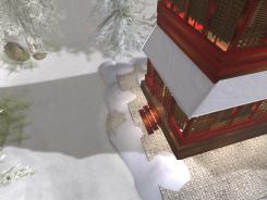 Snow piles around the main entrance