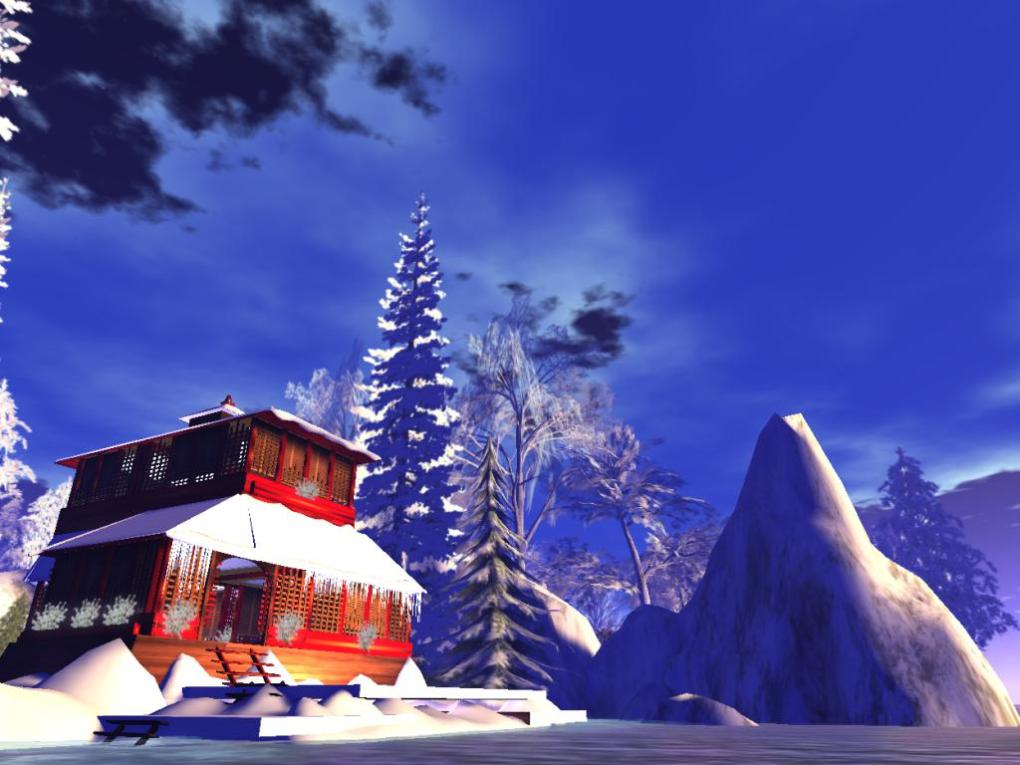 Red Asian Lodge At Moco Emporium Second Life With Winter Add ons