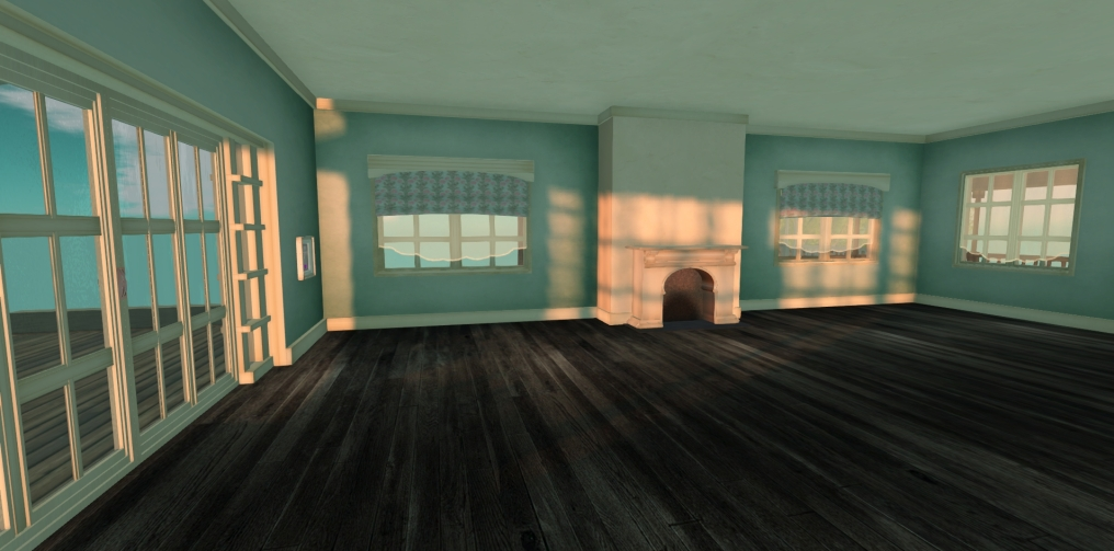 Or an ebony floor and aqua walls