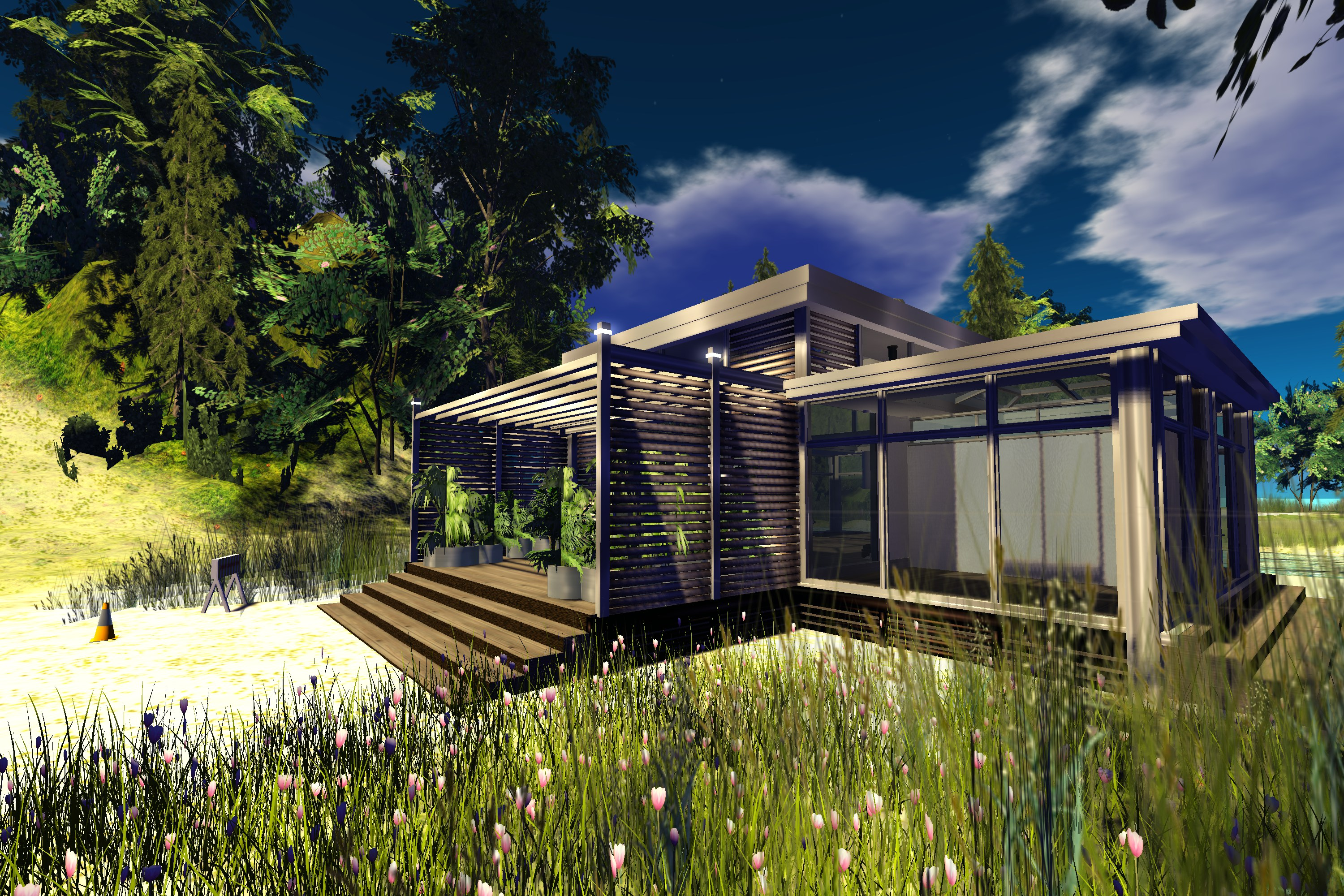 Second life prefab homes moco scribe for Prefab beach cottage
